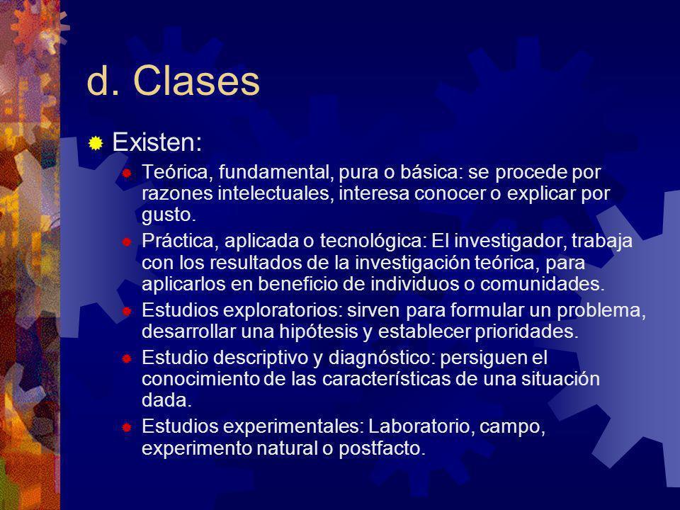 d. Clases Existen: Teórica, fundamental, pura o básica: se procede por razones intelectuales, interesa conocer o explicar por gusto. Práctica, aplicad