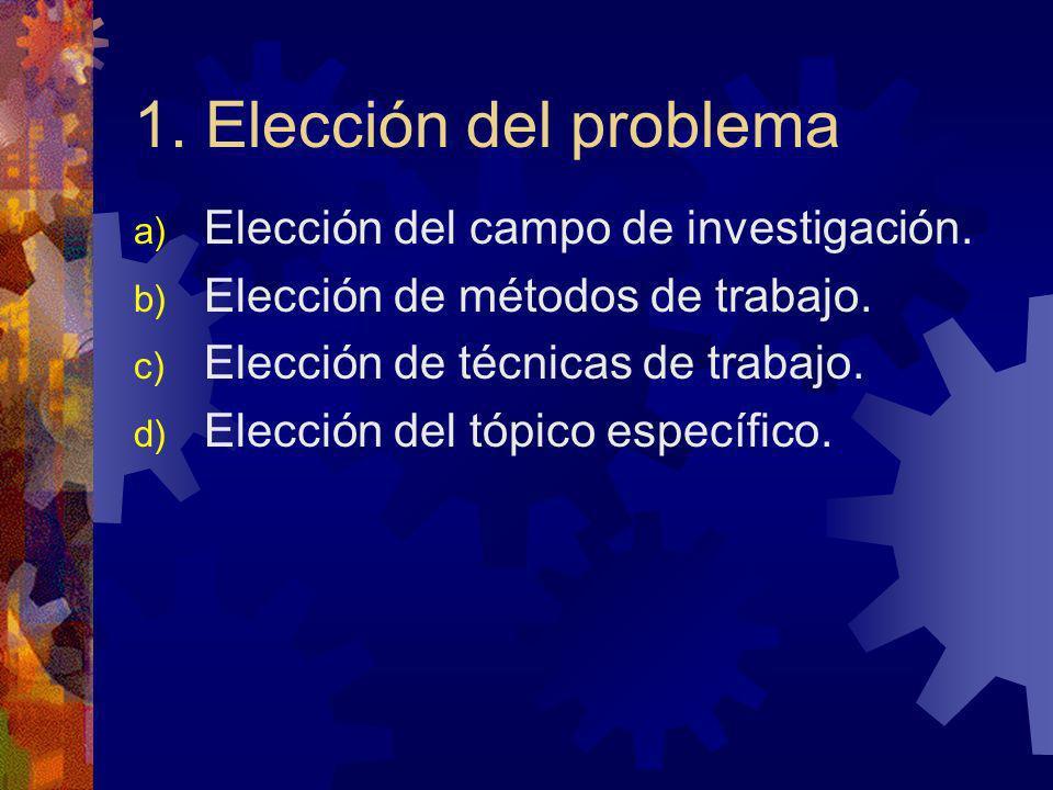 1. Elección del problema a) Elección del campo de investigación. b) Elección de métodos de trabajo. c) Elección de técnicas de trabajo. d) Elección de