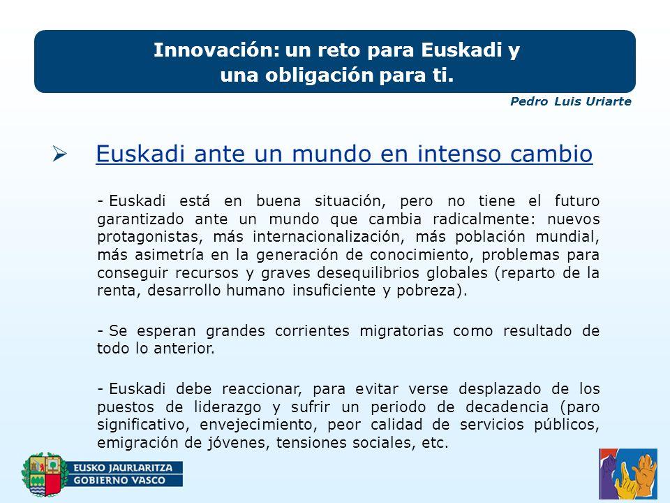 Euskadi ante un mundo en intenso cambio Innovación: un reto para Euskadi y una obligación para ti.