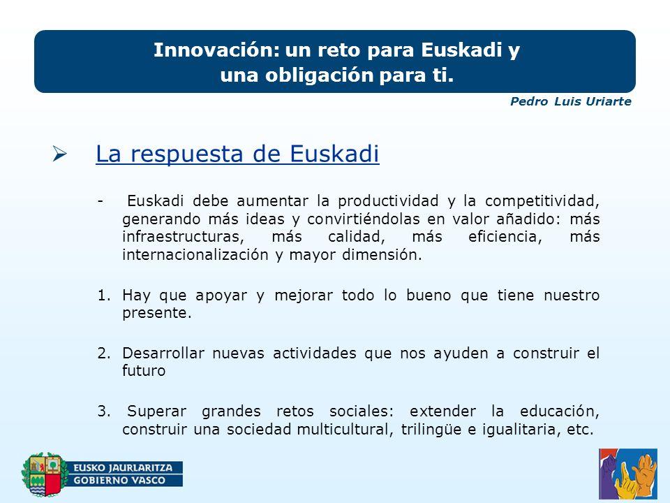 La respuesta de Euskadi Innovación: un reto para Euskadi y una obligación para ti.