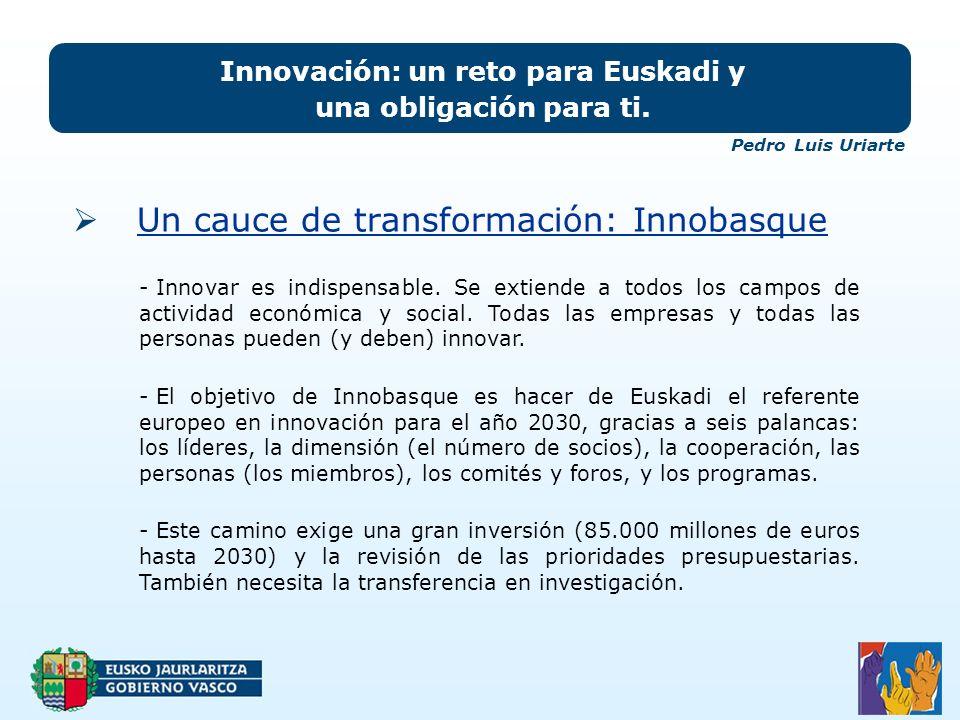 Un cauce de transformación: Innobasque Innovación: un reto para Euskadi y una obligación para ti.