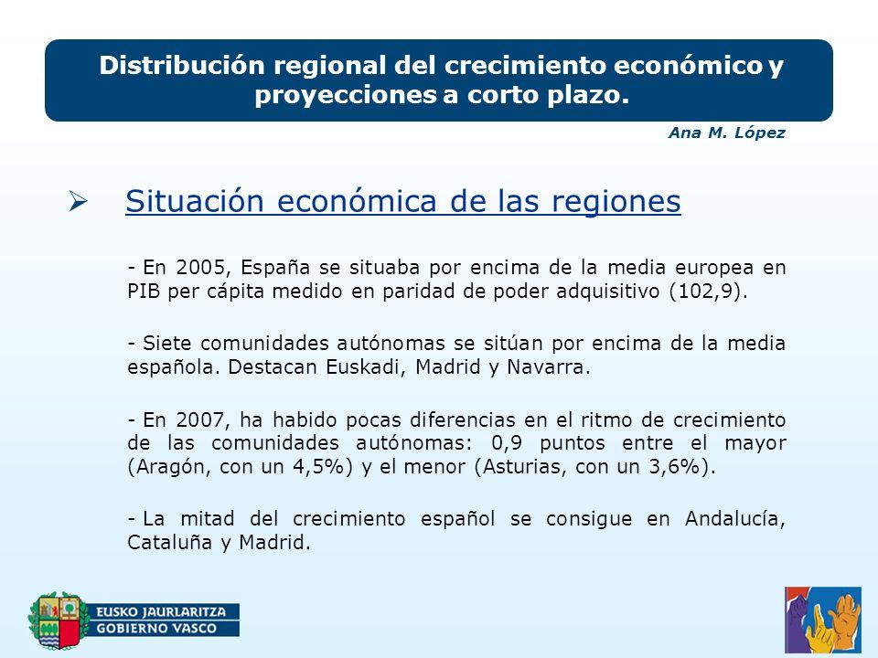 Situación económica de las regiones Distribución regional del crecimiento económico y proyecciones a corto plazo.