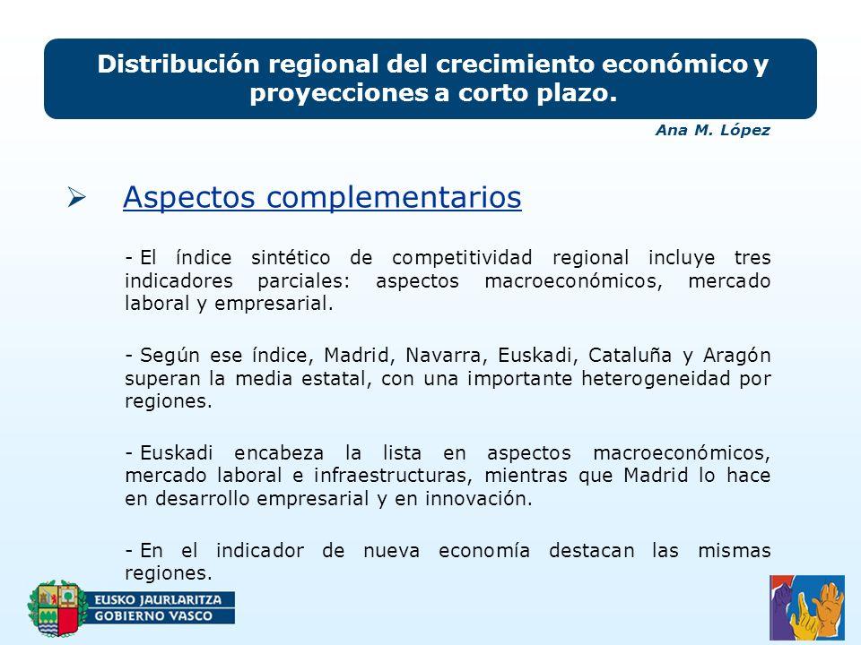 Aspectos complementarios Distribución regional del crecimiento económico y proyecciones a corto plazo.