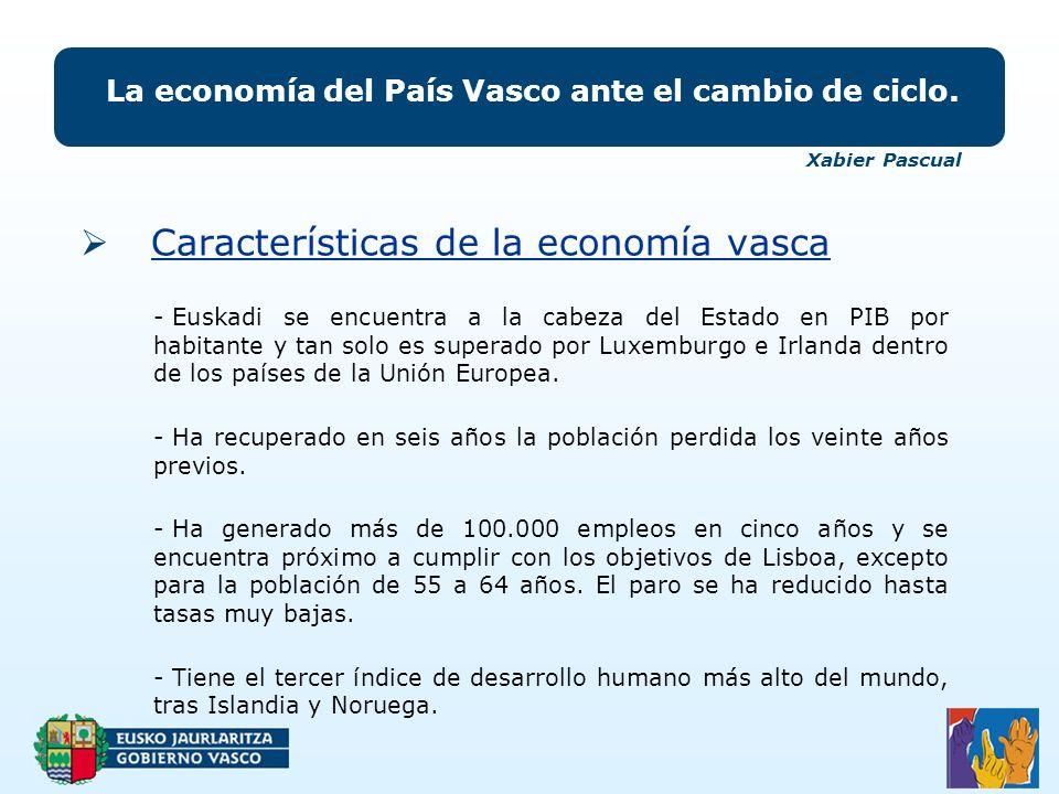 Características de la economía vasca La economía del País Vasco ante el cambio de ciclo.