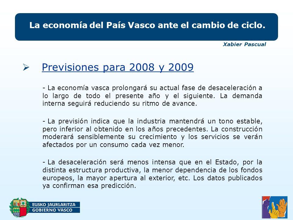 Previsiones para 2008 y 2009 La economía del País Vasco ante el cambio de ciclo.