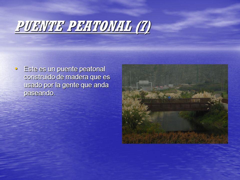 PUENTE PEATONAL (7) Este es un puente peatonal construido de madera que es usado por la gente que anda paseando. Este es un puente peatonal construido