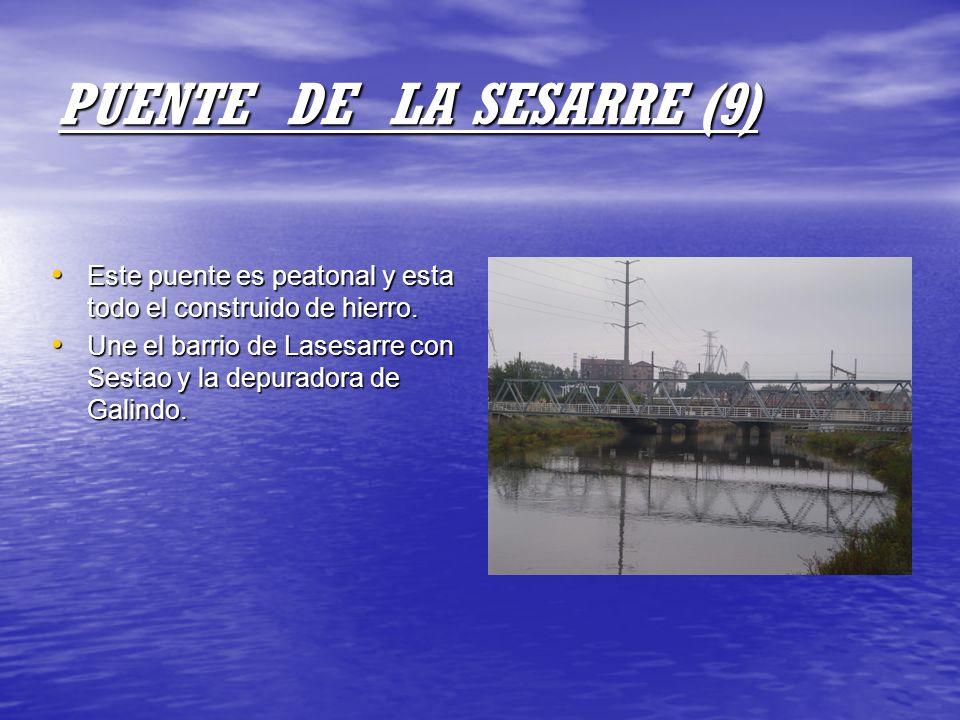 PUENTE DE LA SESARRE (9) Este puente es peatonal y esta todo el construido de hierro. Este puente es peatonal y esta todo el construido de hierro. Une