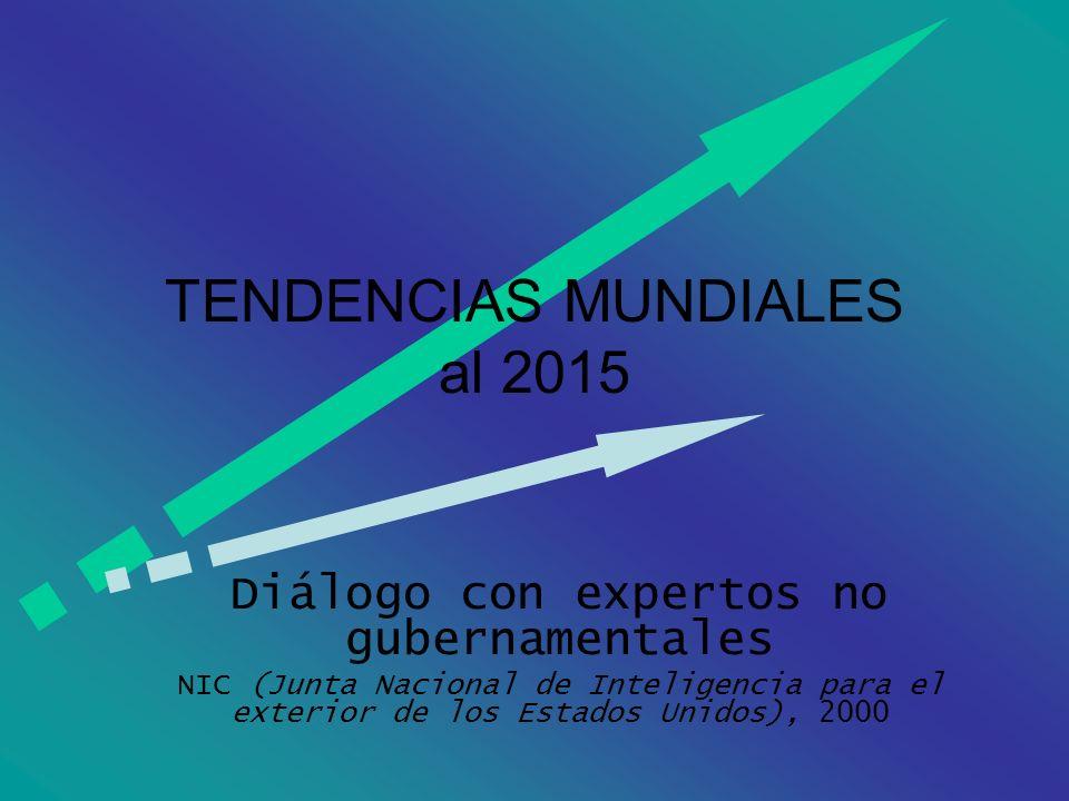 TENDENCIAS MUNDIALES al 2015 Diálogo con expertos no gubernamentales NIC (Junta Nacional de Inteligencia para el exterior de los Estados Unidos), 2000