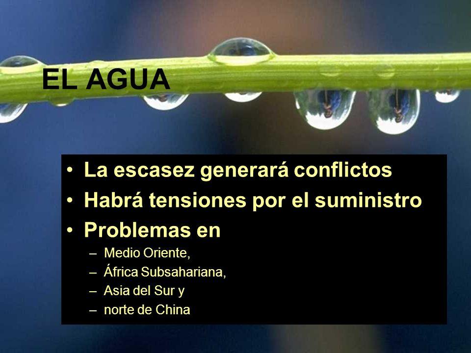 EL AGUA La escasez generará conflictos Habrá tensiones por el suministro Problemas en –Medio Oriente, –África Subsahariana, –Asia del Sur y –norte de