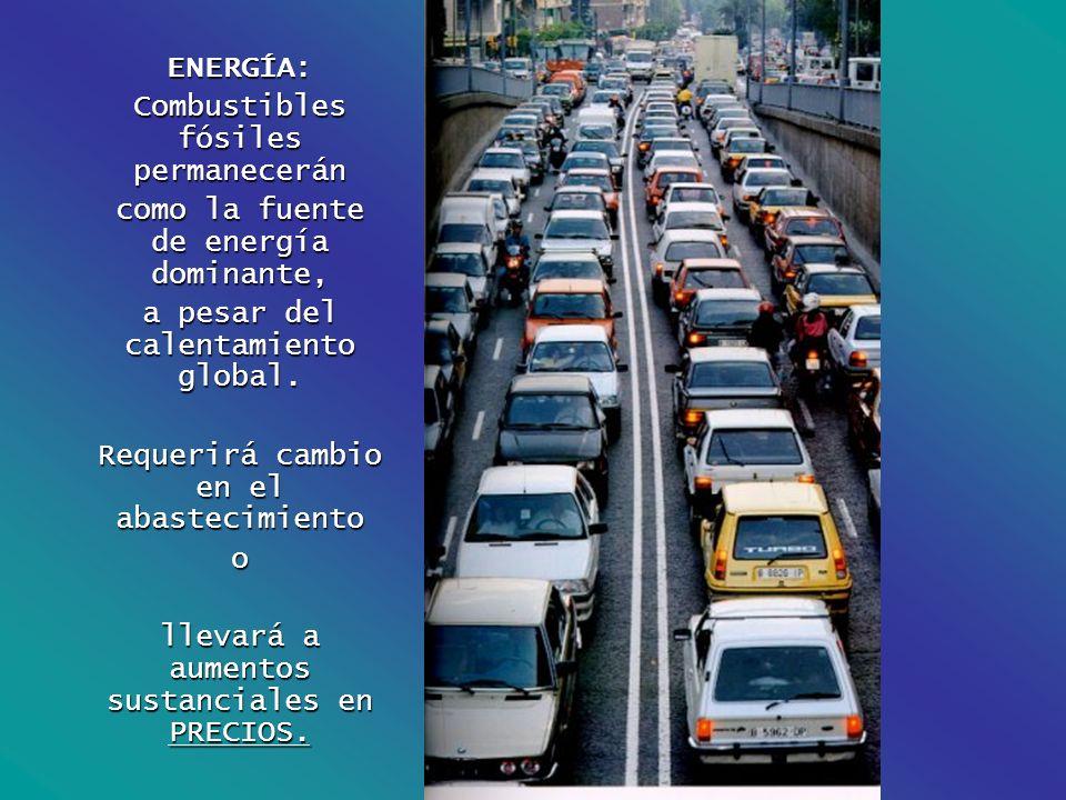 ENERGÍA: Combustibles fósiles permanecerán como la fuente de energía dominante, a pesar del calentamiento global. Requerirá cambio en el abastecimient