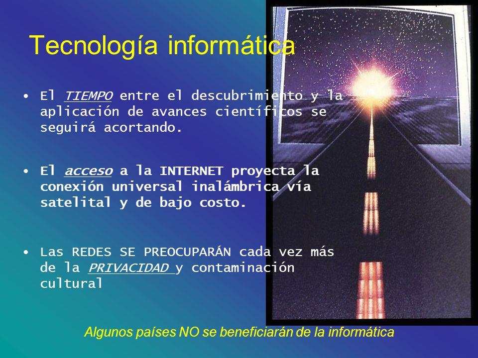 Algunos países NO se beneficiarán de la informática Tecnología informática El TIEMPO entre el descubrimiento y la aplicación de avances científicos se