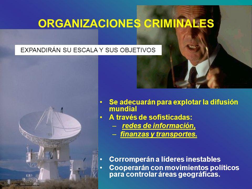 ORGANIZACIONES CRIMINALES Se adecuarán para explotar la difusión mundial A través de sofisticadas: – redes de información, –finanzas y transportes. Co