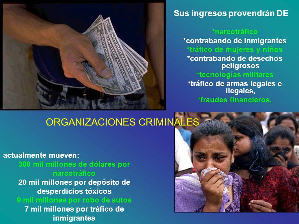 Sus ingresos provendrán DE *narcotráfico *contrabando de inmigrantes *tráfico de mujeres y niños *contrabando de desechos peligrosos *tecnologías mili