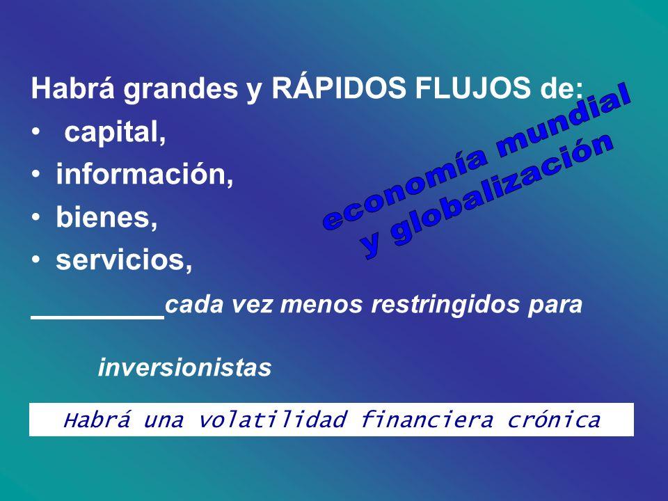 Habrá grandes y RÁPIDOS FLUJOS de: capital, información, bienes, servicios, cada vez menos restringidos para inversionistas Habrá una volatilidad fina