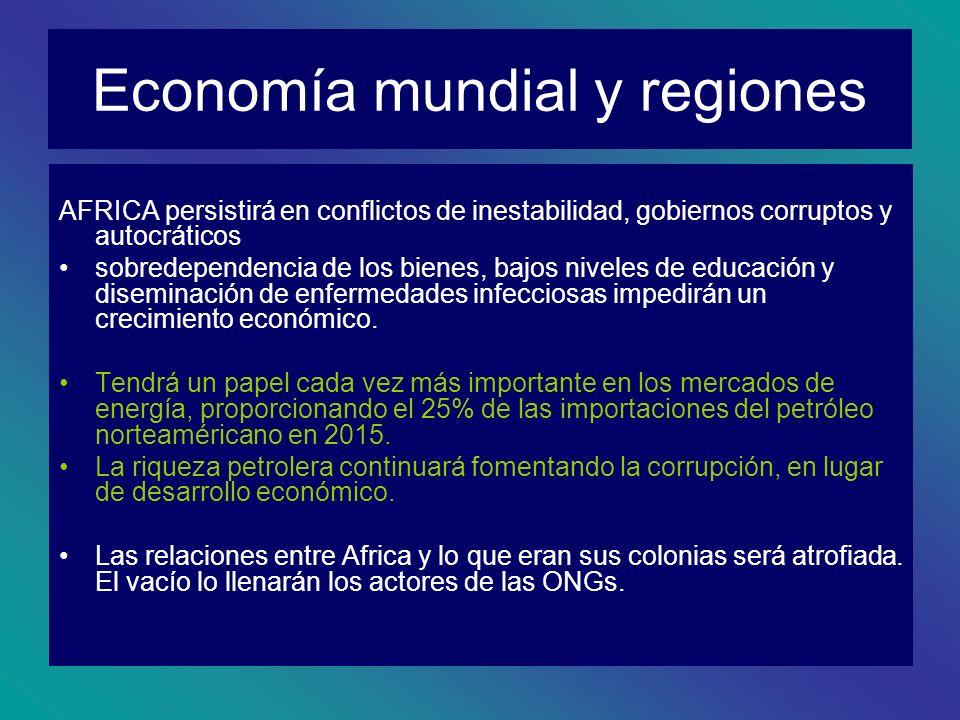 Economía mundial y regiones AFRICA persistirá en conflictos de inestabilidad, gobiernos corruptos y autocráticos sobredependencia de los bienes, bajos