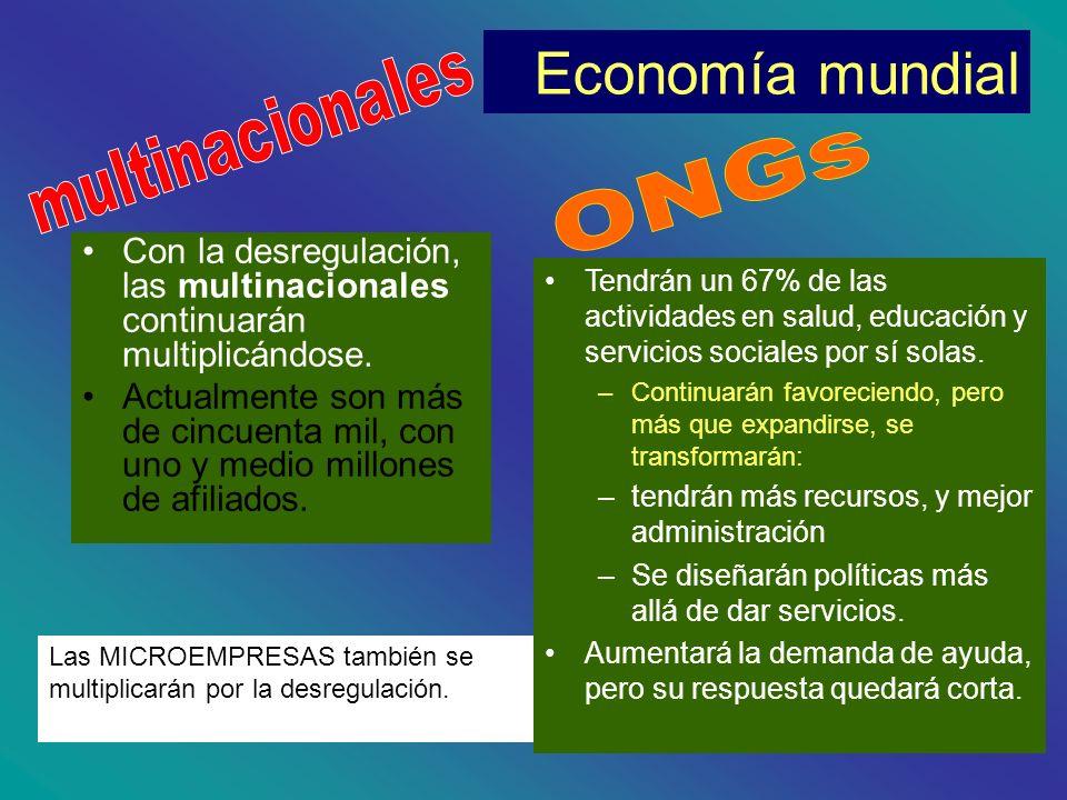Economía mundial Con la desregulación, las multinacionales continuarán multiplicándose. Actualmente son más de cincuenta mil, con uno y medio millones