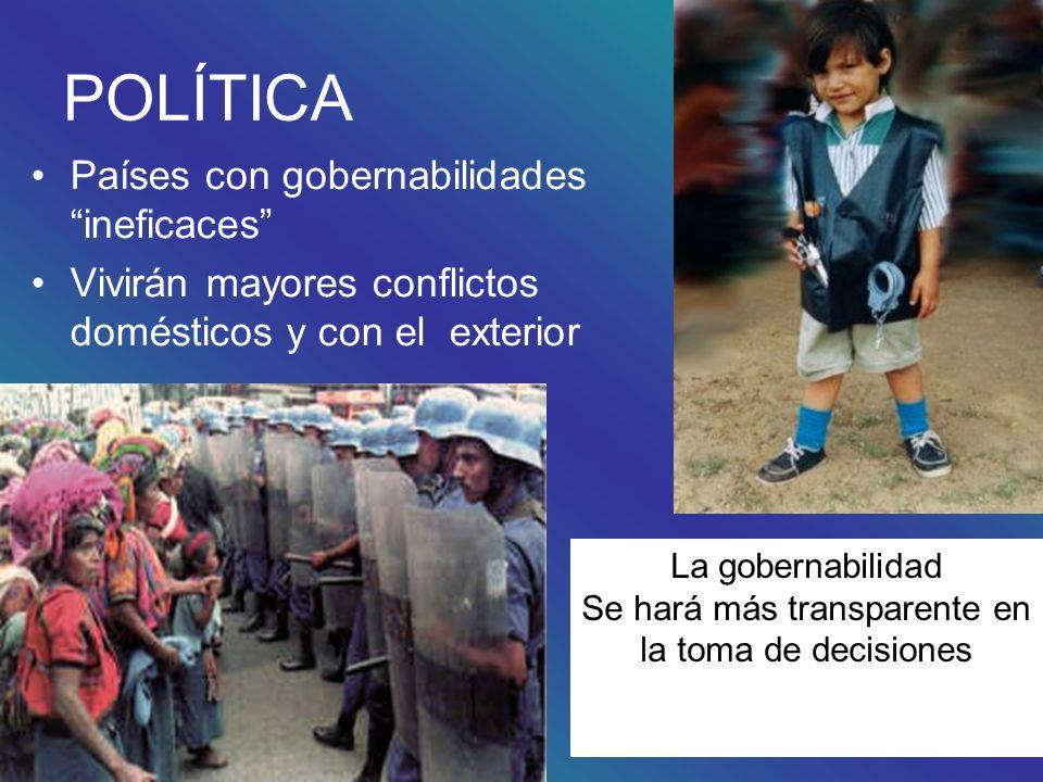 POLÍTICA Países con gobernabilidades ineficaces Vivirán mayores conflictos domésticos y con el exterior La gobernabilidad Se hará más transparente en