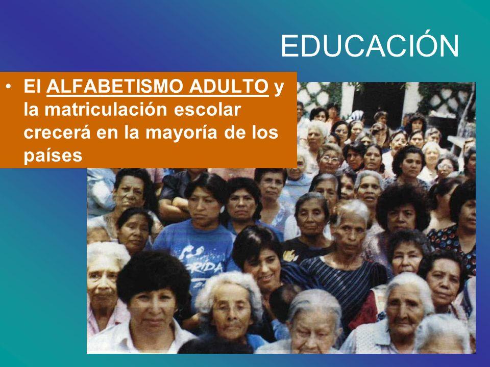El ALFABETISMO ADULTO y la matriculación escolar crecerá en la mayoría de los países EDUCACIÓN