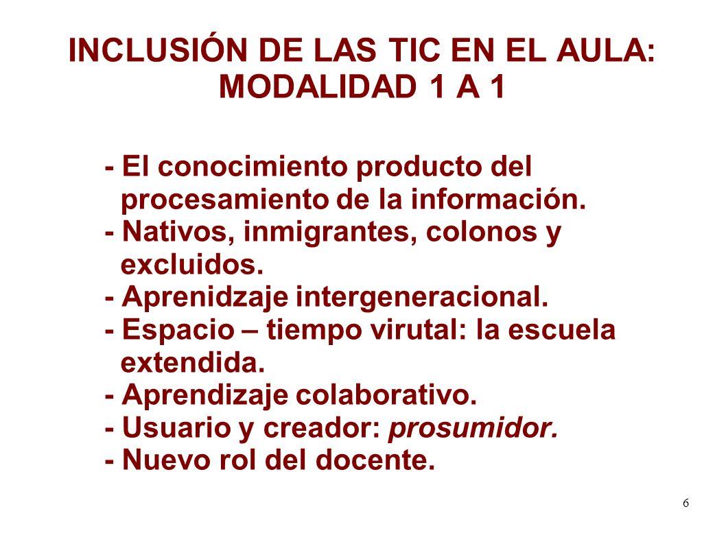 6 INCLUSIÓN DE LAS TIC EN EL AULA: MODALIDAD 1 A 1 - El conocimiento producto del procesamiento de la información.