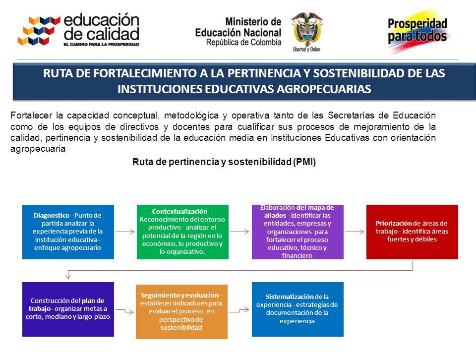RUTA DE FORTALECIMIENTO A LA PERTINENCIA Y SOSTENIBILIDAD DE LAS INSTITUCIONES EDUCATIVAS AGROPECUARIAS Fortalecer la capacidad conceptual, metodológi