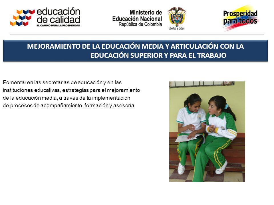 Fomentar en las secretarias de educación y en las instituciones educativas, estrategias para el mejoramiento de la educación media, a través de la imp