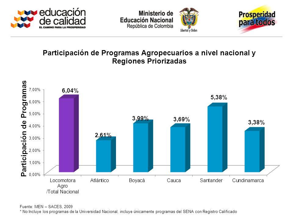 Fuente: MEN – SACES, 2009 * No Incluye los programas de la Universidad Nacional, incluye únicamente programas del SENA con Registro Calificado
