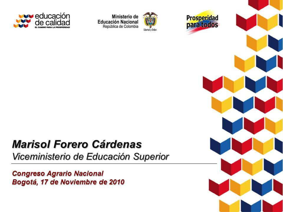 Marisol Forero Cárdenas Viceministerio de Educación Superior Congreso Agrario Nacional Bogotá, 17 de Noviembre de 2010
