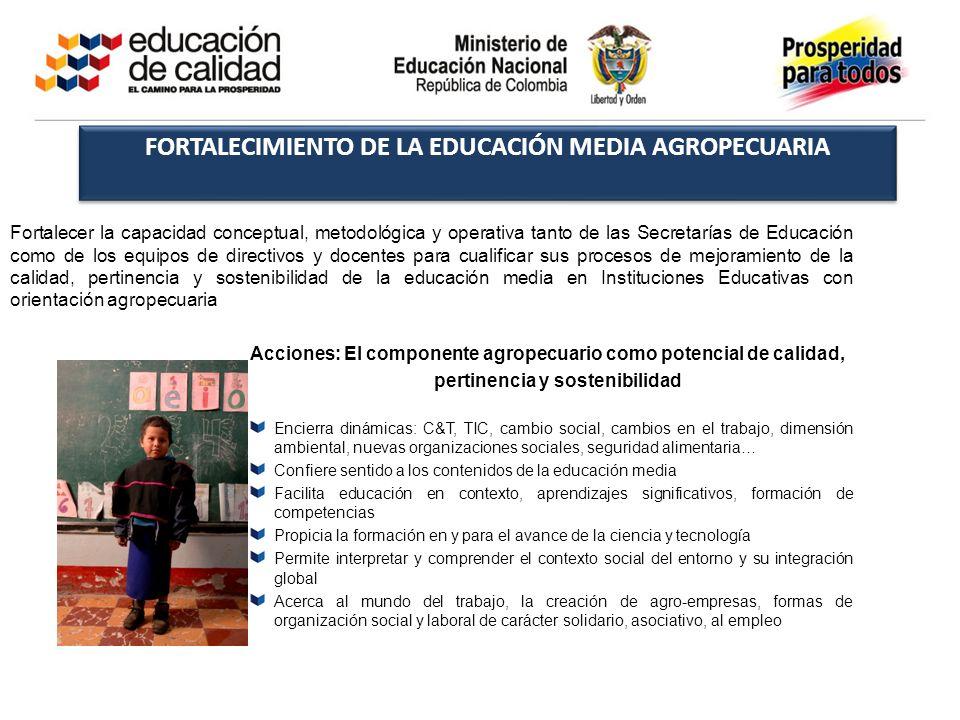 FORTALECIMIENTO DE LA EDUCACIÓN MEDIA AGROPECUARIA Fortalecer la capacidad conceptual, metodológica y operativa tanto de las Secretarías de Educación