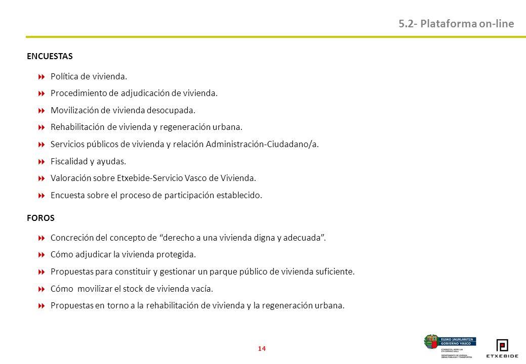 14 5.2- Plataforma on-line ENCUESTAS Política de vivienda.