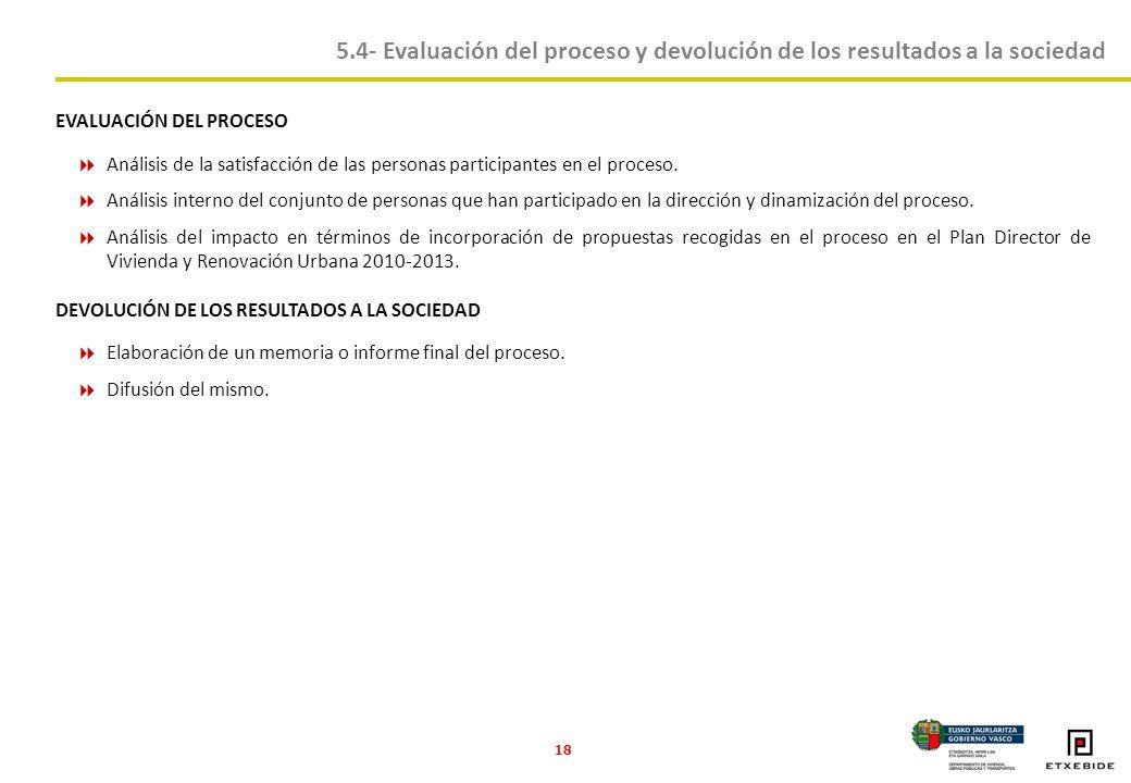 18 5.4- Evaluación del proceso y devolución de los resultados a la sociedad EVALUACIÓN DEL PROCESO Análisis de la satisfacción de las personas participantes en el proceso.