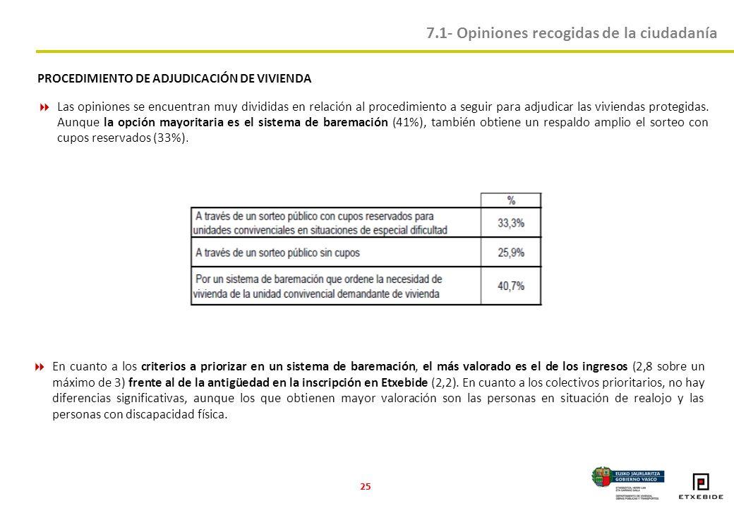 25 PROCEDIMIENTO DE ADJUDICACIÓN DE VIVIENDA Las opiniones se encuentran muy divididas en relación al procedimiento a seguir para adjudicar las viviendas protegidas.