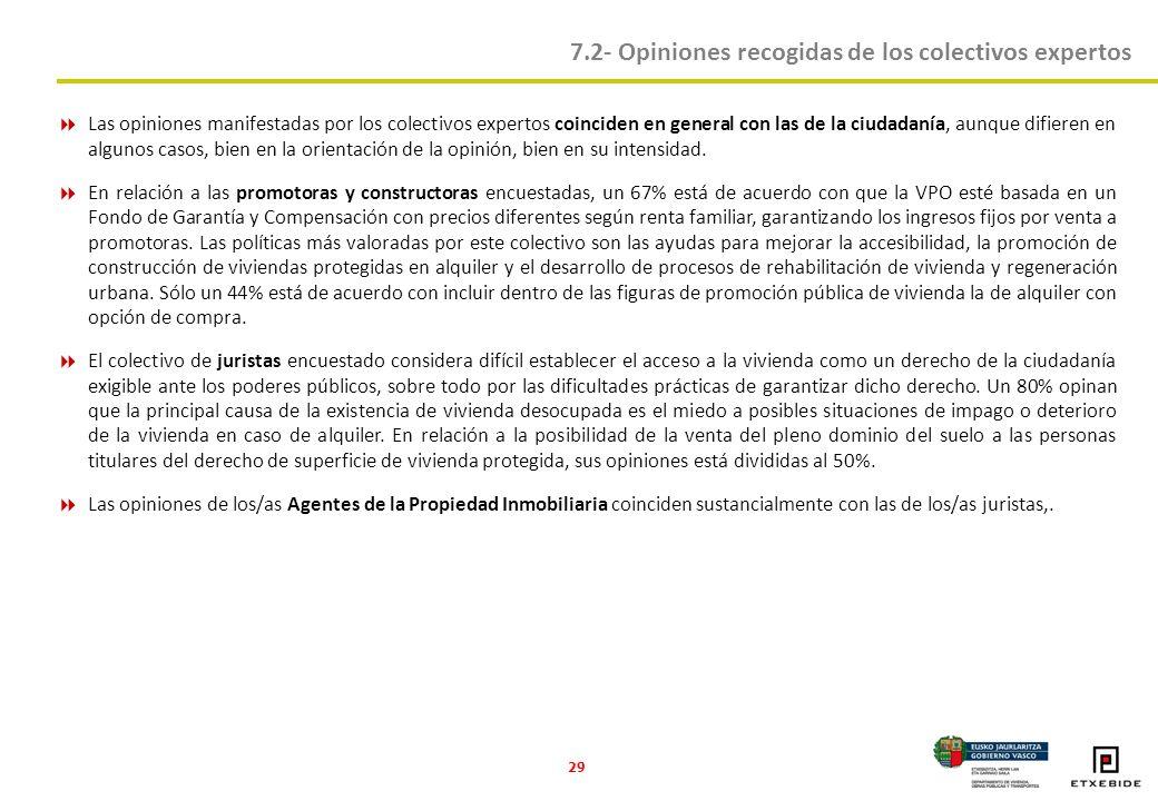 29 Las opiniones manifestadas por los colectivos expertos coinciden en general con las de la ciudadanía, aunque difieren en algunos casos, bien en la orientación de la opinión, bien en su intensidad.