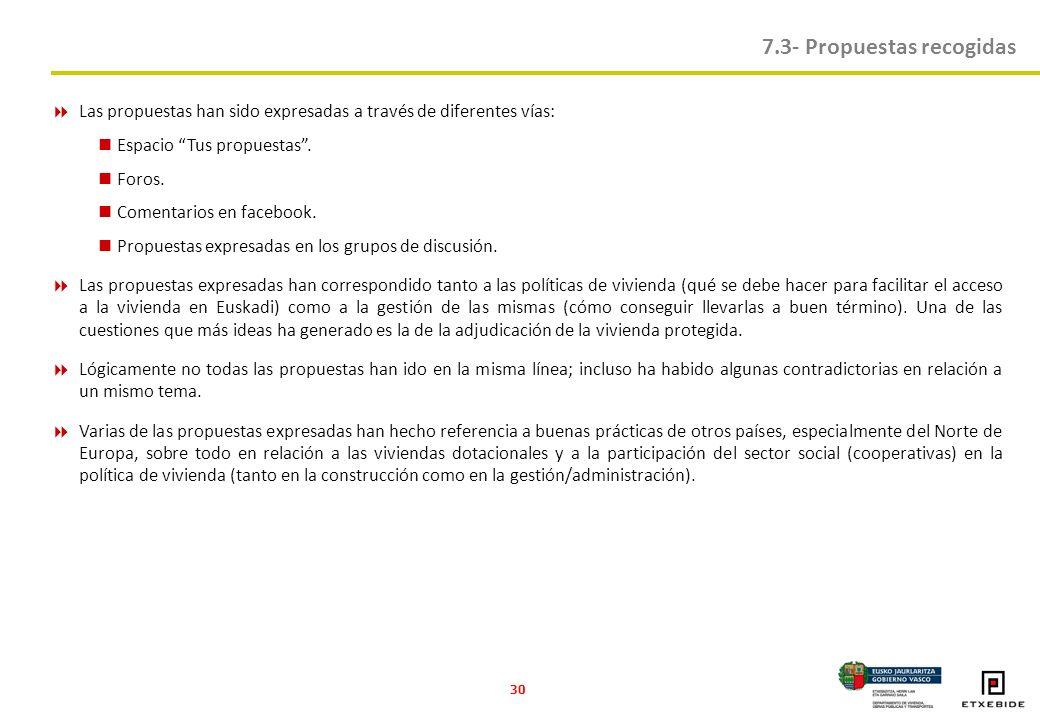 30 Las propuestas han sido expresadas a través de diferentes vías: Espacio Tus propuestas.