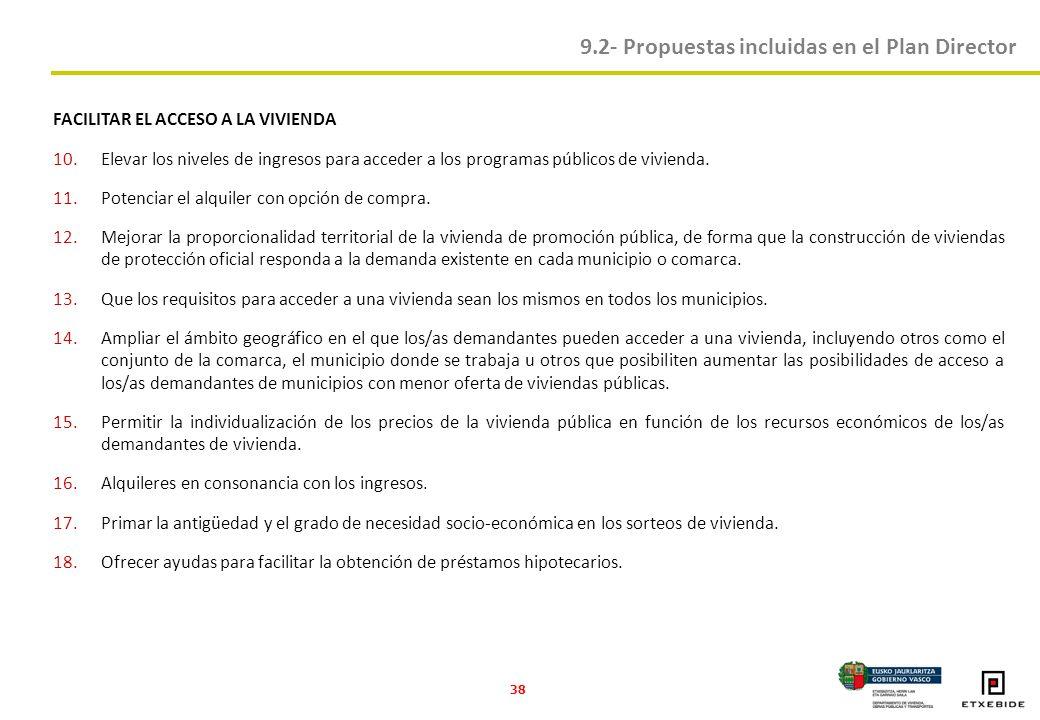 38 FACILITAR EL ACCESO A LA VIVIENDA 10.Elevar los niveles de ingresos para acceder a los programas públicos de vivienda.
