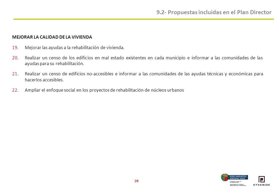 39 MEJORAR LA CALIDAD DE LA VIVIENDA 19.Mejorar las ayudas a la rehabilitación de vivienda.