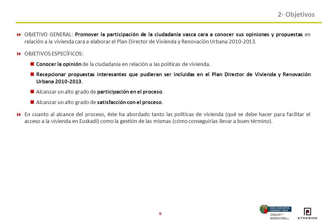 6 OBJETIVO GENERAL: Promover la participación de la ciudadanía vasca cara a conocer sus opiniones y propuestas en relación a la vivienda cara a elaborar el Plan Director de Vivienda y Renovación Urbana 2010-2013.