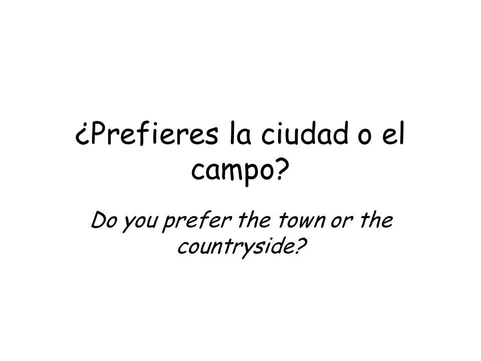 ¿Prefieres la ciudad o el campo? Do you prefer the town or the countryside?
