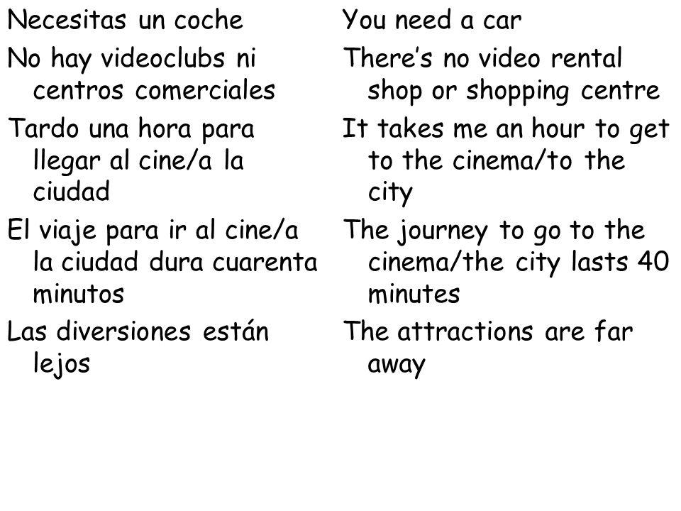 Necesitas un coche No hay videoclubs ni centros comerciales Tardo una hora para llegar al cine/a la ciudad El viaje para ir al cine/a la ciudad dura cuarenta minutos Las diversiones están lejos