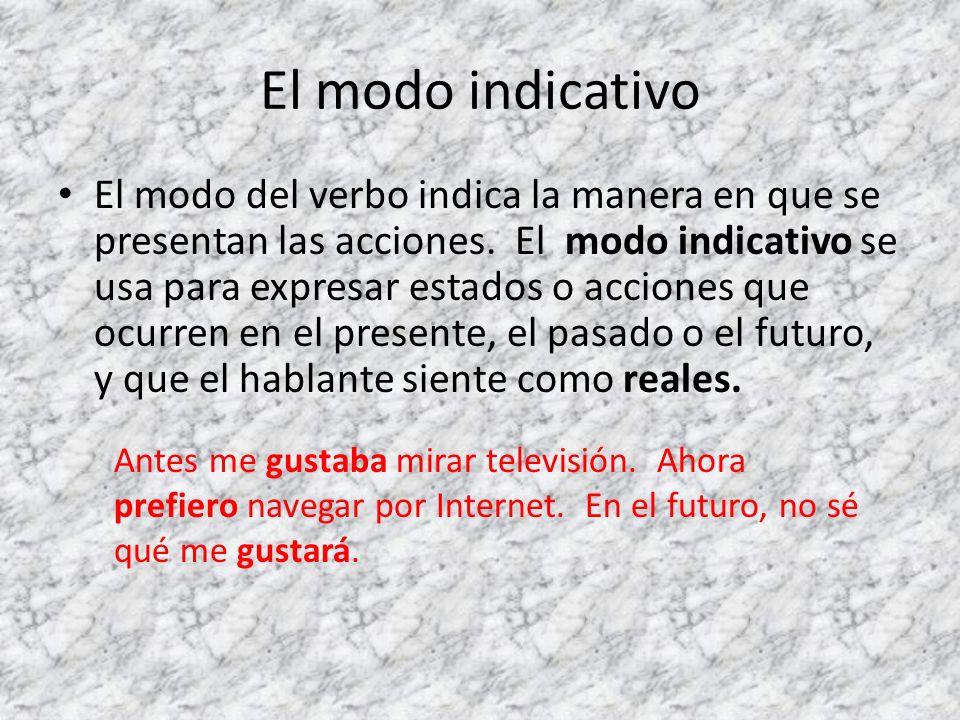 El modo indicativo El modo del verbo indica la manera en que se presentan las acciones. El modo indicativo se usa para expresar estados o acciones que