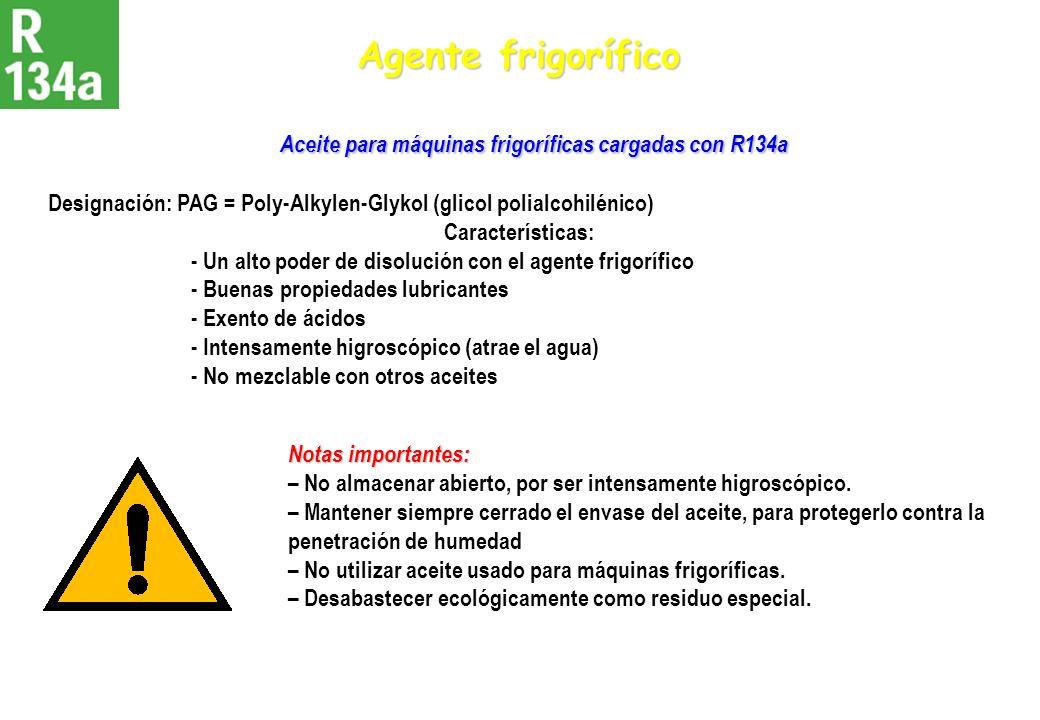 Aceite para máquinas frigoríficas cargadas con R134a Aceite para máquinas frigoríficas cargadas con R134a Designación: PAG = Poly-Alkylen-Glykol (glic