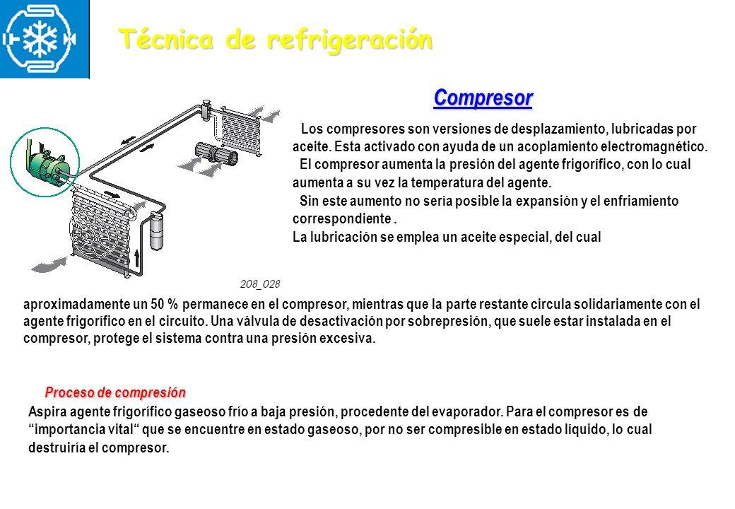 Compresor Los compresores son versiones de desplazamiento, lubricadas por aceite. Esta activado con ayuda de un acoplamiento electromagnético. El comp