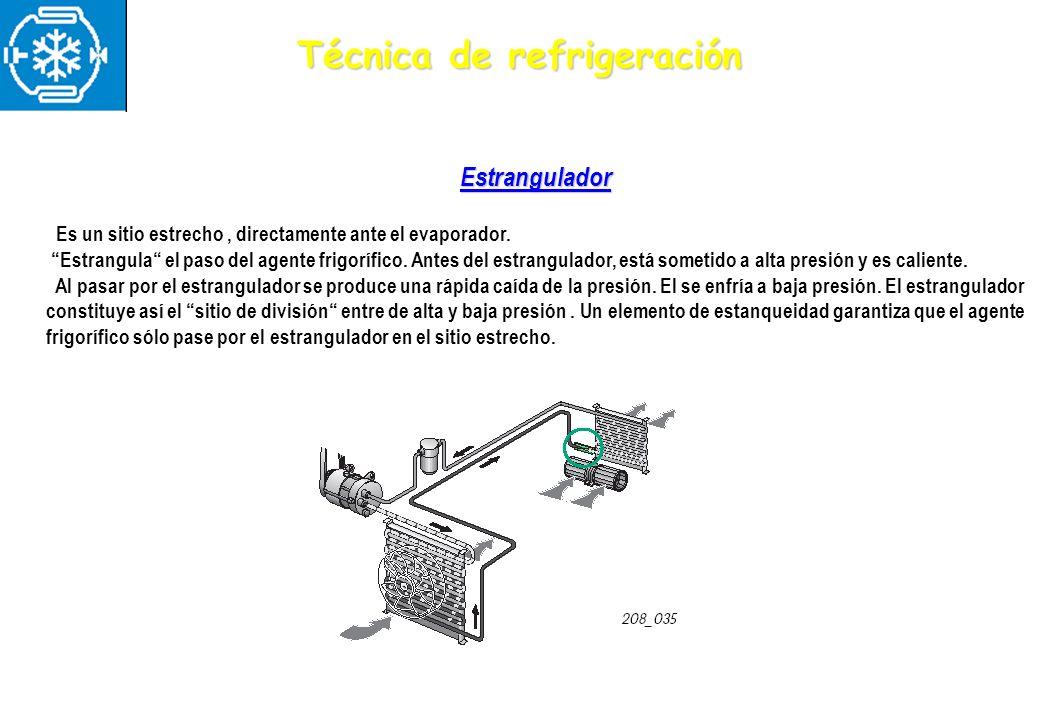 Técnica de refrigeración Estrangulador Es un sitio estrecho, directamente ante el evaporador. Estrangula el paso del agente frigorífico. Antes del est