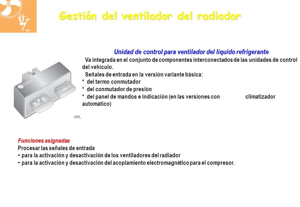 Unidad de control para ventilador del líquido refrigerante Va integrada en el conjunto de componentes interconectados de las unidades de control del v