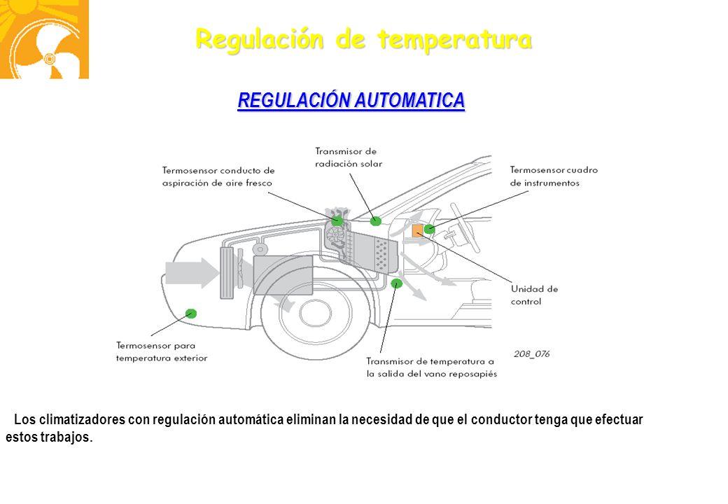 Regulación de temperatura REGULACIÓN AUTOMATICA Los climatizadores con regulación automática eliminan la necesidad de que el conductor tenga que efect