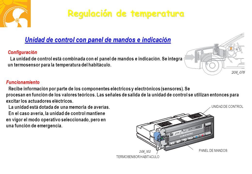 Regulación de temperatura Unidad de control con panel de mandos e indicación Configuración La unidad de control está combinada con el panel de mandos