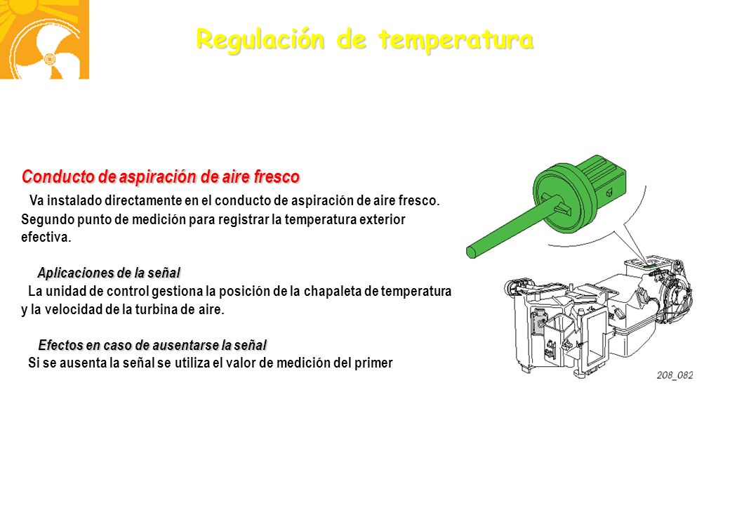 Regulación de temperatura Conducto de aspiración de aire fresco Va instalado directamente en el conducto de aspiración de aire fresco. Segundo punto d