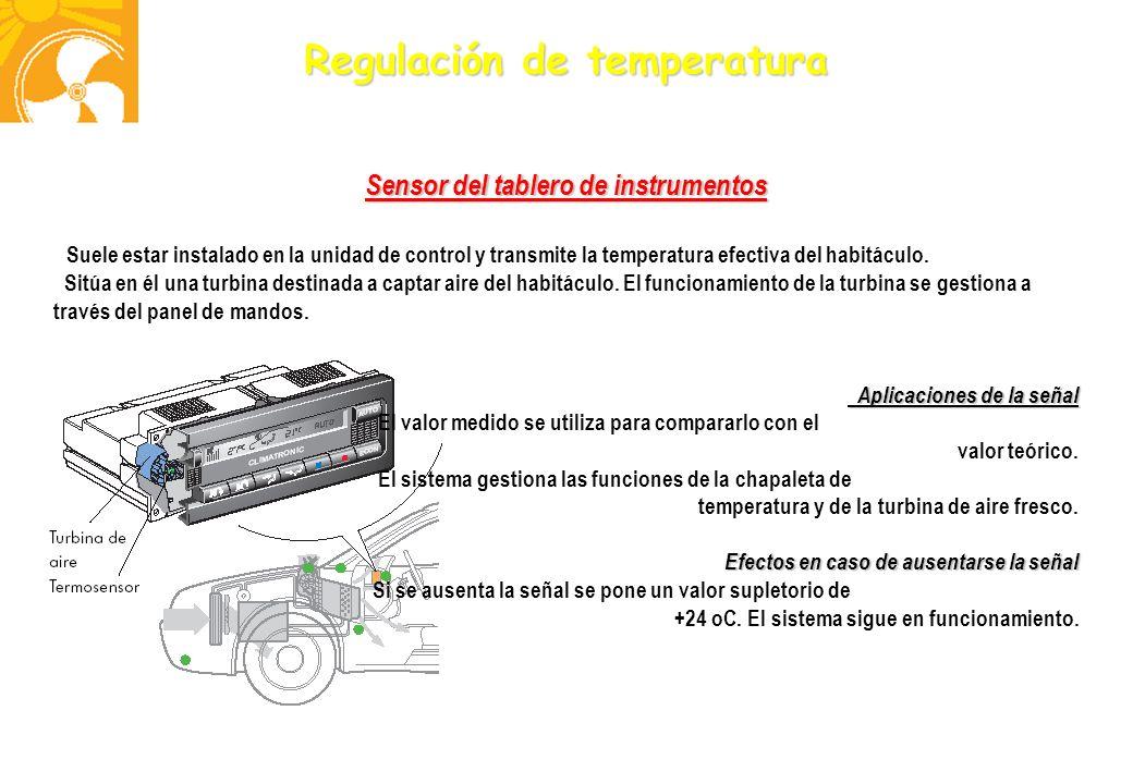 Regulación de temperatura Sensor del tablero de instrumentos Suele estar instalado en la unidad de control y transmite la temperatura efectiva del hab