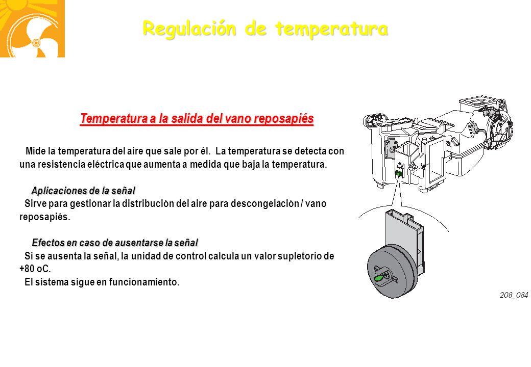 Regulación de temperatura Temperatura a la salida del vano reposapiés Mide la temperatura del aire que sale por él. La temperatura se detecta con una
