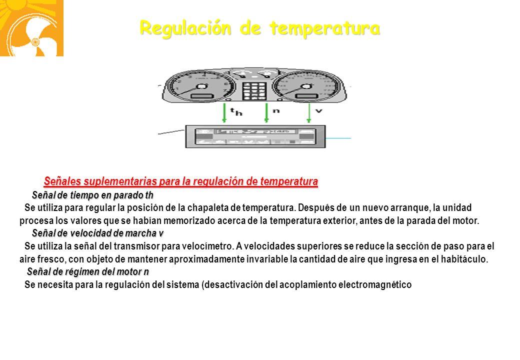 Regulación de temperatura Señales suplementarias para la regulación de temperatura Señal de tiempo en parado th Señal de tiempo en parado th Se utiliz