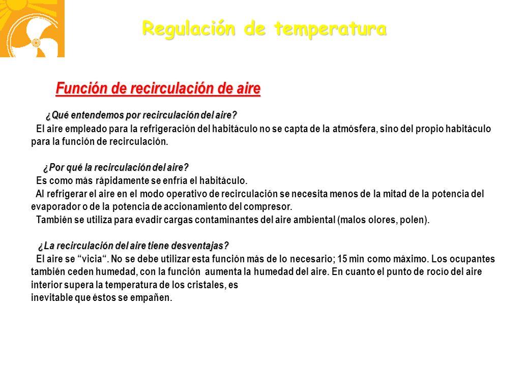 Regulación de temperatura Función de recirculación de aire ¿Qué entendemos por recirculación del aire? ¿Qué entendemos por recirculación del aire? El